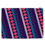Purple And Pink Retro Geometric Pattern Cosmetic Bag (XXL)  Back