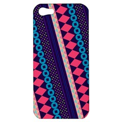 Purple And Pink Retro Geometric Pattern Apple iPhone 5 Hardshell Case