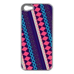 Purple And Pink Retro Geometric Pattern Apple iPhone 5 Case (Silver)