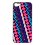 Purple And Pink Retro Geometric Pattern Apple iPhone 5 Case (Silver) Front