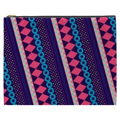 Purple And Pink Retro Geometric Pattern Cosmetic Bag (XXXL)
