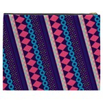 Purple And Pink Retro Geometric Pattern Cosmetic Bag (XXXL)  Back