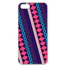 Purple And Pink Retro Geometric Pattern Apple Seamless iPhone 5 Case (Clear)