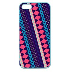 Purple And Pink Retro Geometric Pattern Apple Seamless Iphone 5 Case (color)