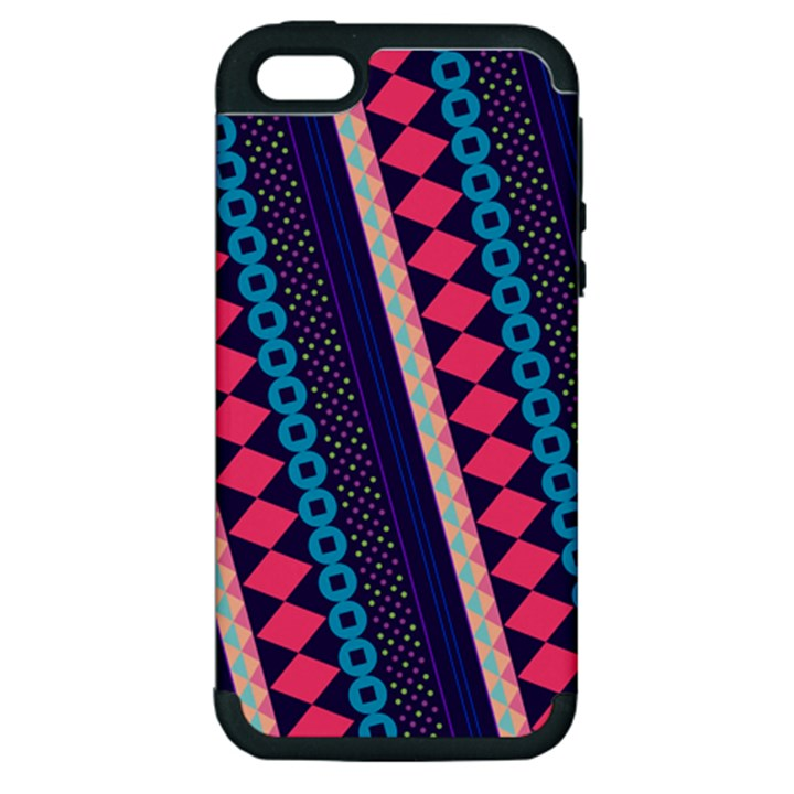 Purple And Pink Retro Geometric Pattern Apple iPhone 5 Hardshell Case (PC+Silicone)