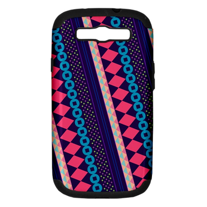 Purple And Pink Retro Geometric Pattern Samsung Galaxy S III Hardshell Case (PC+Silicone)