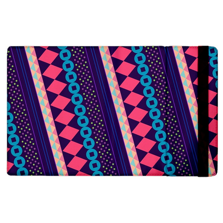 Purple And Pink Retro Geometric Pattern Apple iPad 3/4 Flip Case