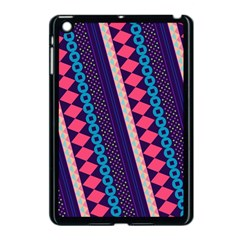 Purple And Pink Retro Geometric Pattern Apple iPad Mini Case (Black)