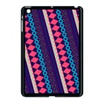 Purple And Pink Retro Geometric Pattern Apple iPad Mini Case (Black) Front