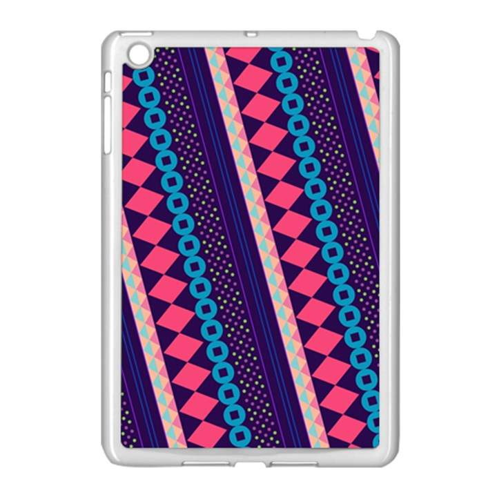 Purple And Pink Retro Geometric Pattern Apple iPad Mini Case (White)