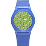 Tropical Floral Pattern Round Plastic Sport Watch (S) Front
