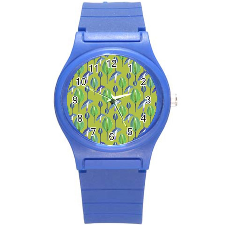 Tropical Floral Pattern Round Plastic Sport Watch (S)