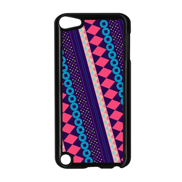 Purple And Pink Retro Geometric Pattern Apple iPod Touch 5 Case (Black)