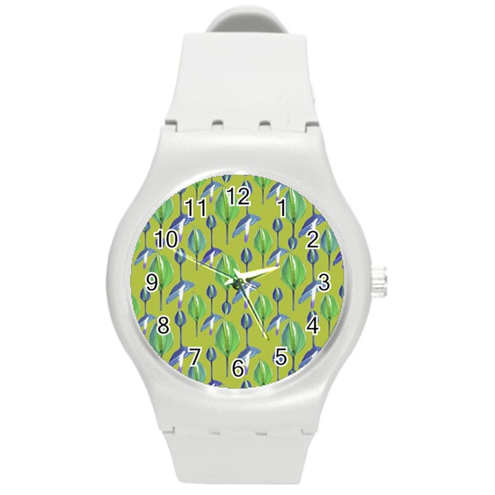 Tropical Floral Pattern Round Plastic Sport Watch (M)