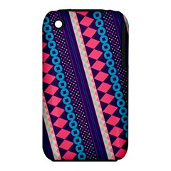 Purple And Pink Retro Geometric Pattern Apple iPhone 3G/3GS Hardshell Case (PC+Silicone)