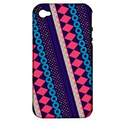 Purple And Pink Retro Geometric Pattern Apple Iphone 4/4s Hardshell Case (pc+silicone)