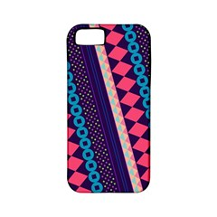 Purple And Pink Retro Geometric Pattern Apple iPhone 5 Classic Hardshell Case (PC+Silicone)