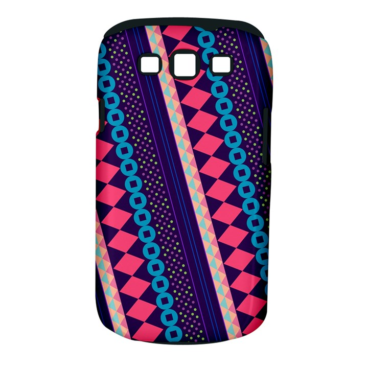 Purple And Pink Retro Geometric Pattern Samsung Galaxy S III Classic Hardshell Case (PC+Silicone)