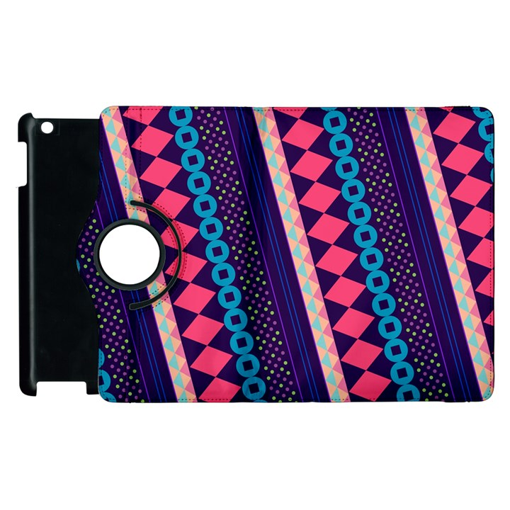 Purple And Pink Retro Geometric Pattern Apple iPad 2 Flip 360 Case