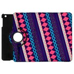 Purple And Pink Retro Geometric Pattern Apple iPad Mini Flip 360 Case Front