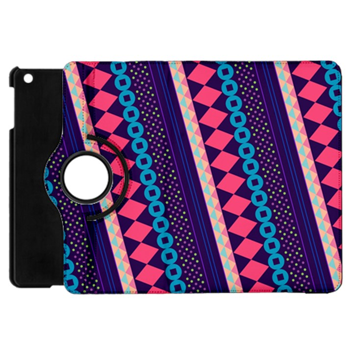 Purple And Pink Retro Geometric Pattern Apple iPad Mini Flip 360 Case