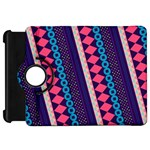 Purple And Pink Retro Geometric Pattern Kindle Fire HD Flip 360 Case Front