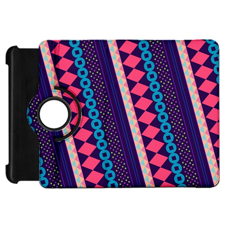 Purple And Pink Retro Geometric Pattern Kindle Fire HD Flip 360 Case