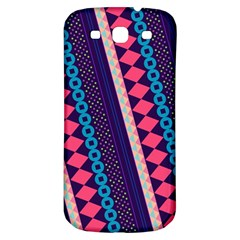 Purple And Pink Retro Geometric Pattern Samsung Galaxy S3 S Iii Classic Hardshell Back Case