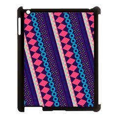 Purple And Pink Retro Geometric Pattern Apple iPad 3/4 Case (Black)