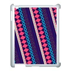 Purple And Pink Retro Geometric Pattern Apple iPad 3/4 Case (White)