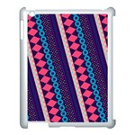Purple And Pink Retro Geometric Pattern Apple iPad 3/4 Case (White) Front
