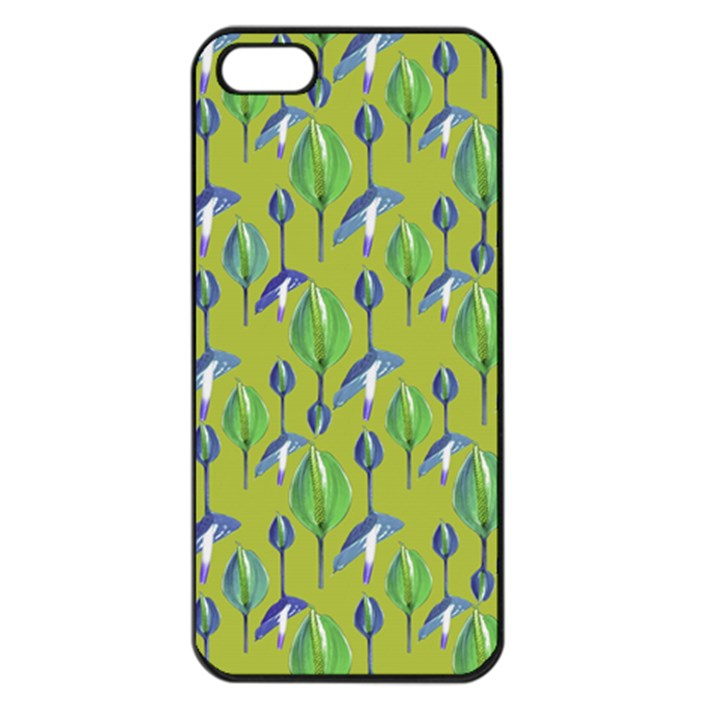 Tropical Floral Pattern Apple iPhone 5 Seamless Case (Black)