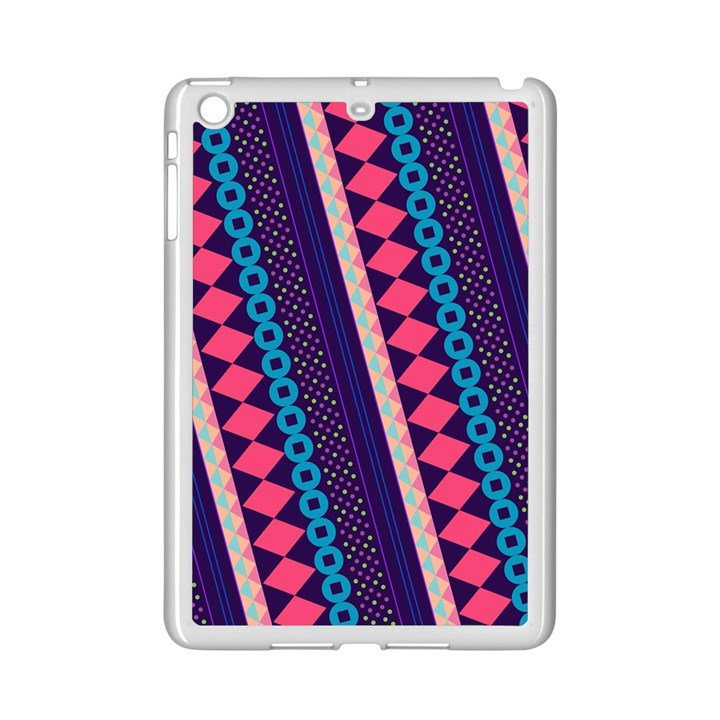 Purple And Pink Retro Geometric Pattern iPad Mini 2 Enamel Coated Cases