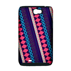 Purple And Pink Retro Geometric Pattern Samsung Galaxy Note 2 Hardshell Case (PC+Silicone)