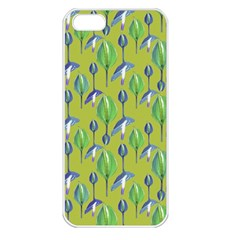 Tropical Floral Pattern Apple iPhone 5 Seamless Case (White)