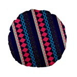 Purple And Pink Retro Geometric Pattern Standard 15  Premium Round Cushions Front