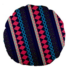 Purple And Pink Retro Geometric Pattern Large 18  Premium Round Cushions
