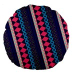 Purple And Pink Retro Geometric Pattern Large 18  Premium Round Cushions Back