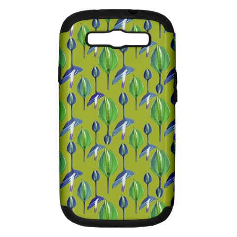 Tropical Floral Pattern Samsung Galaxy S III Hardshell Case (PC+Silicone)