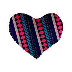 Purple And Pink Retro Geometric Pattern Standard 16  Premium Heart Shape Cushions