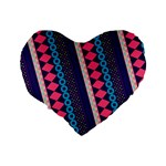 Purple And Pink Retro Geometric Pattern Standard 16  Premium Heart Shape Cushions Back