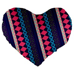 Purple And Pink Retro Geometric Pattern Large 19  Premium Heart Shape Cushions