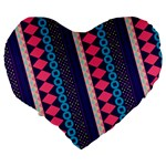 Purple And Pink Retro Geometric Pattern Large 19  Premium Heart Shape Cushions Back