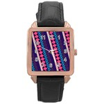 Purple And Pink Retro Geometric Pattern Rose Gold Leather Watch  Front