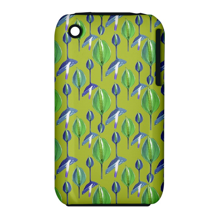 Tropical Floral Pattern Apple iPhone 3G/3GS Hardshell Case (PC+Silicone)