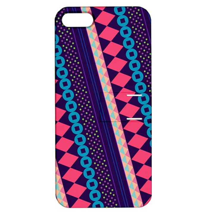 Purple And Pink Retro Geometric Pattern Apple iPhone 5 Hardshell Case with Stand