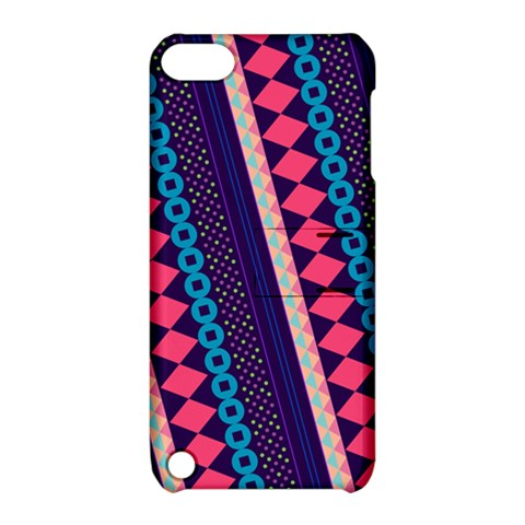 Purple And Pink Retro Geometric Pattern Apple iPod Touch 5 Hardshell Case with Stand