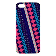 Purple And Pink Retro Geometric Pattern Apple iPhone 5 Premium Hardshell Case