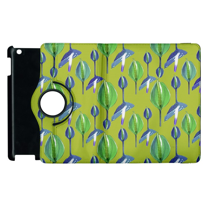 Tropical Floral Pattern Apple iPad 3/4 Flip 360 Case