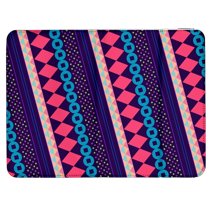 Purple And Pink Retro Geometric Pattern Samsung Galaxy Tab 7  P1000 Flip Case